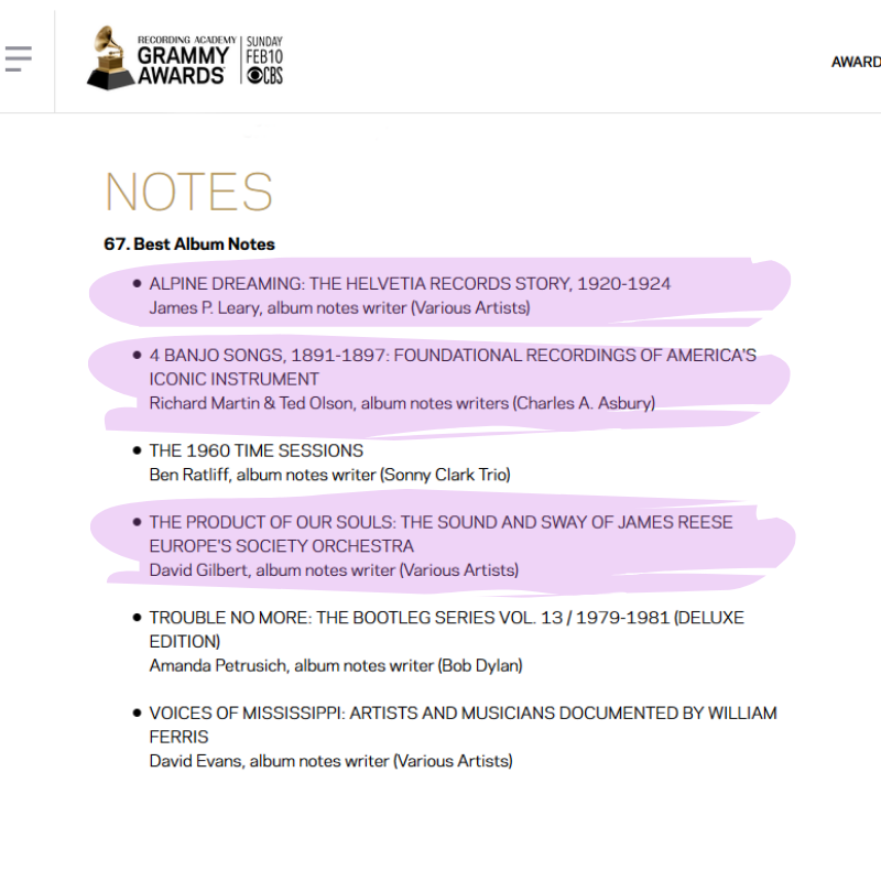 Screengrab of 2018 Grammy Nominations for Best Album Notes